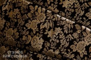 Кожа натуральная - Цветы золотые